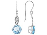 Sky Blue Topaz Rhodium Over Sterling Silver Earrings 10.16ctw