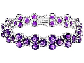 Purple Amethyst Rhodium Over Sterling Silver Bracelet 25.70ctw