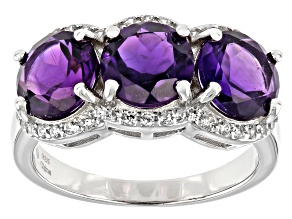 Purple African Amethyst Rhodium Over Sterling Silver Ring 2.85ctw