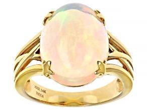 Ethiopian Opal 14K Yellow Gold Ring 4.5ctw