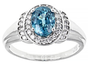 Blue Zircon 14K White Gold Ring 2.25ctw