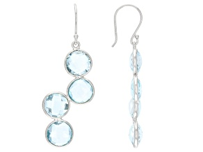 Blue Topaz Rhodium Over Sterling Silver Dangle Earrings 16.00ctw
