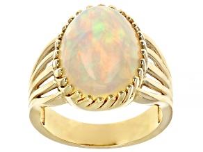 Ethiopian Opal 14K Yellow Gold Ring 5.06ctw