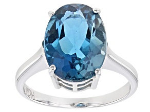 London Blue Topaz Rhodium Over Sterling Silver Solitaire Ring 7.20ctw