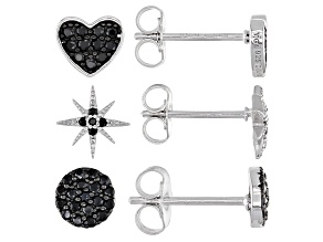 Black Spinel Rhodium Over Silver 3pcs Children's Earrings Set 0.38ctw