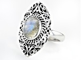 2.58ct Rainbow Moonstone Rhodium Over Silver Ring