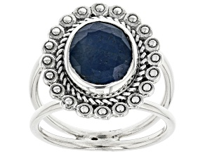 Blue Sapphire Rhodium Over Silver Ring 2.75ctw