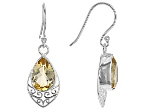 Golden Citrine Rhodium Over Silver Earrings 3.75ctw