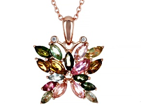 Multi Tourmaline Pink Rhodium Over Silver Pendant W/ Chain 2.15ctw