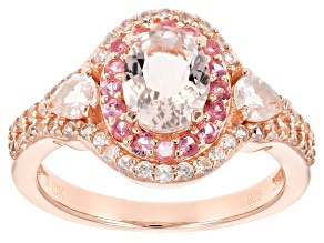 Peach morganite 18k rose gold over silver ring 2.03ctw