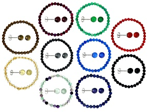 Multi-color mixed gemstone 10 silver bracelets and earrings sets