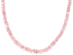 Pink morganite sterling silver beaded necklace