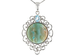 Blue Indonesian Opal in Matrix Rhodium Over Silver Pendant with Chain .68ct
