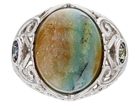 Blue Indonesian Opal in Matrix Rhodium Over Silver Ring .56ctw
