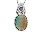 Blue Indonesian Opal in Matrix Rhodium Over  Silver Pendant with Chain .28ct