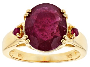 Red ruby 18k gold over silver ring 4.32ctw
