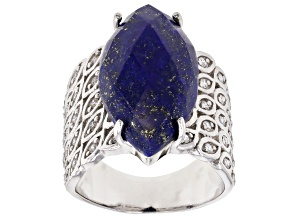 blue lapis lazuli rhodium over silver ring .44ctw