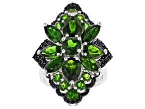 Green chrome diopside rhodium over silver ring 7.18ctw