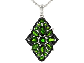 Green chrome diopside rhodium over silver pendant with chain 7.98ctw