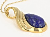 Lapis Lazuli 18k Yellow Gold Over Sterling Silver Pendant With Chain