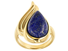 Lapis Lazuli 18k Yellow Gold Over Sterling Silver Solitaire Ring