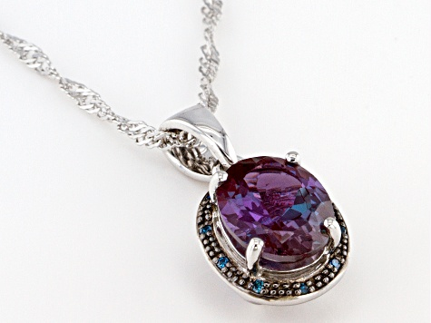 Blue Lab Created Alexandrite Rhodium Over Sterling Silver Pendant With Chain 2.65ctw