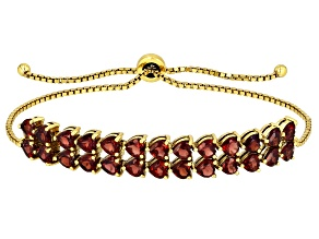 Red garnet 18k gold over silver bracelet 6.76ctw