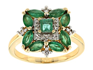 Picture of Green Emerald 18k Yellow Gold Over Sterling Silver Ring 1.45ctw
