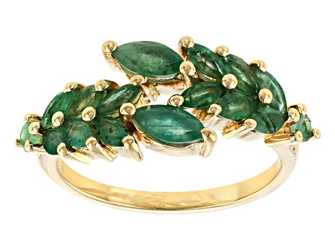 Green Emerald 18k Yellow Gold Over Sterling Silver Bypass Ring 1.34ctw