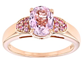 Pink kunzite 18k rose gold over sterling silver ring 2.46ctw
