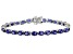 Blue Lab Created Sapphire rhodium over sterling silver tennis bracelet 18.61ctw