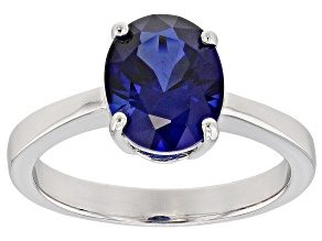 Lab created blue sapphire rhodium over sterling silver ring 2.72ct