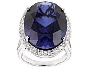 Blue lab sapphire  rhodium over sterling silver 23.53ctw