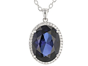 Blue lab sapphire  rhodium over silver pendant with chain 22.24ctw