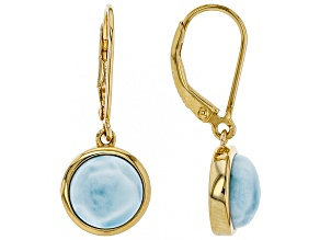 Blue larimar 18k gold over silver earrings