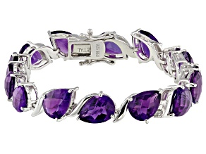 Purple amethyst  rhodium over sterling silver bracelet 20.57ctw