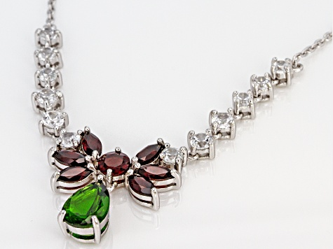 Green chrome diopside rhodium over sterling silver necklace