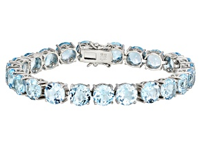 Sky Blue Topaz Rhodium Over Sterling Silver Bracelet 46.14ctw