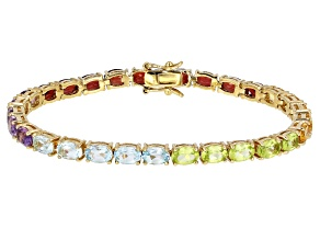 Multi-Color Multi-Gemstone 18k Gold Over Silver Bracelet 13.34ctw
