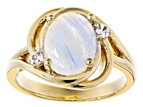 Rainbow Moonstone 18k Yellow Gold Over Sterling Silver Ring .11ctw