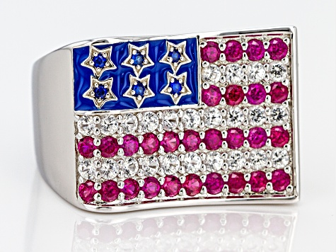 Lab Created Multi-Color Multi-Gemstone Rhodium Over Sterling Silver American Flag Ring 2.15ctw