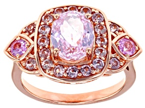 Pink Kunzite 18k Rose Gold Over Sterling Silver Ring 2.88ctw
