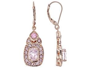 Pink kunzite 18k gold over silver earrings 3.17ctw