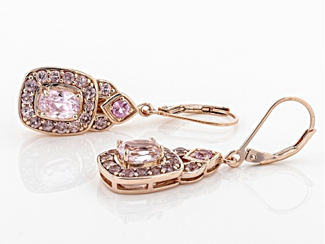 Pink kunzite 18k gold over silver earrings 3.17ctw