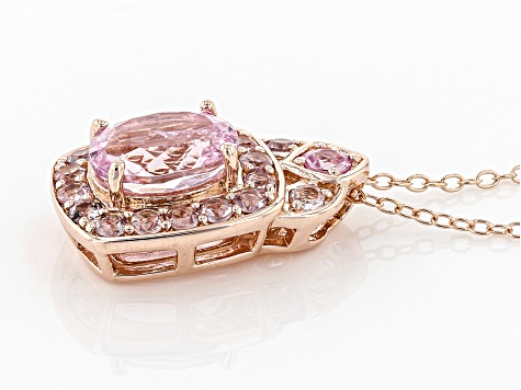 Pink Kunzite 18k Rose Gold Over Sterling Silver Pendant With Chain 2.70ctw
