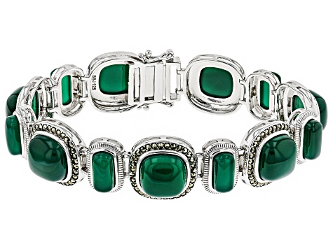Green onyx rhodium over sterling silver bracelet
