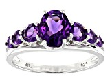 Purple amethyst rhodium over sterling silver ring 1.65ctw