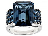 London Blue Topaz Rhodium Over Silver Ring 12.81ctw