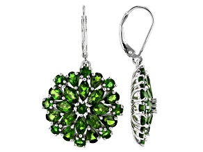 Green Chrome Diopside Rhodium Over Sterling Silver Dangle Earrings 8.04ctw
