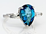 London Blue Topaz Rhodium Over Sterling Silver 3-Stone Ring 4.72ctw